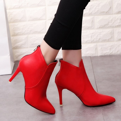 Pointed Toe Back Zipper Solid Color Ankle Boots
