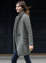 One Button Houndstooth Tweed Coat