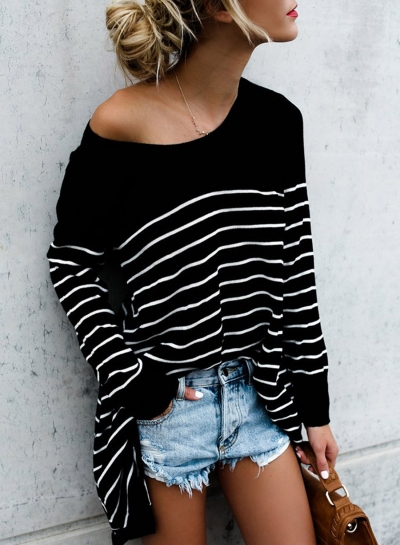 Round Neck Long Sleeve Striped Tee Shirt