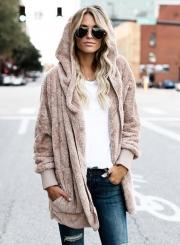Solid Long Sleeve Open Front Hooded Fleece Coat