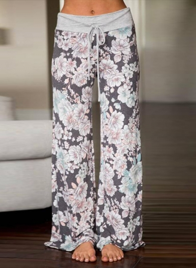 Loose Fit Drawstring Waist Floral Print Pants