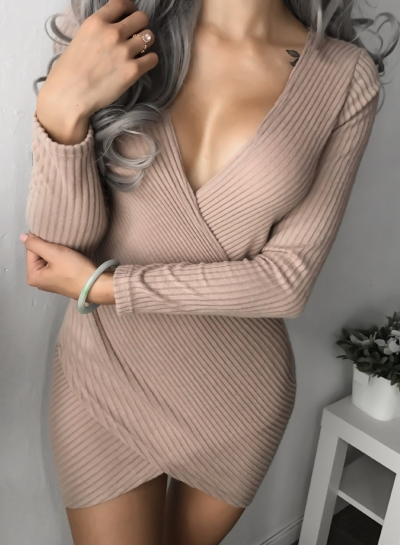 V Neck Long Sleeve Corduroy Bodycon Dress