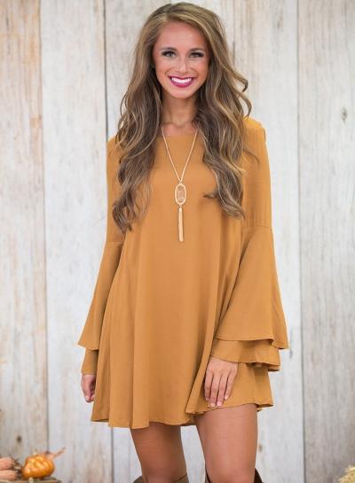 Elegant Round Neck Flare Sleeve Solid Color Backless Dress