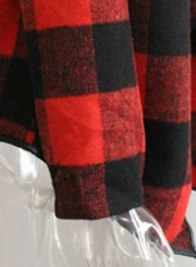 Open Front Turn-down Collar Plaid Coat
