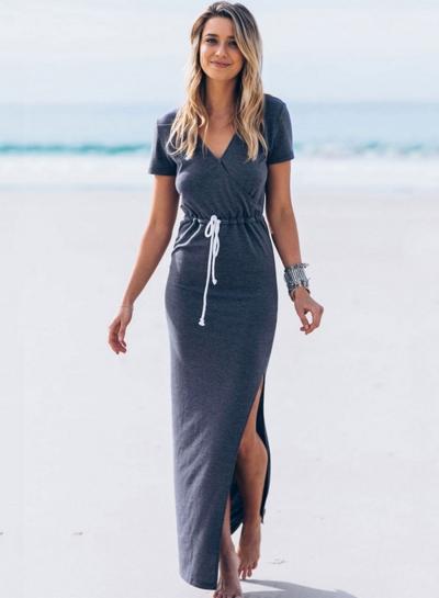 Casual V Neck Short Sleeve Split Maxi Pencil Dress