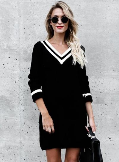 V Neck Long Sleeve Color Block Knit Dress
