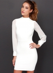 Sexy Round Neck Long Sleeve Backless Solid Color Dress