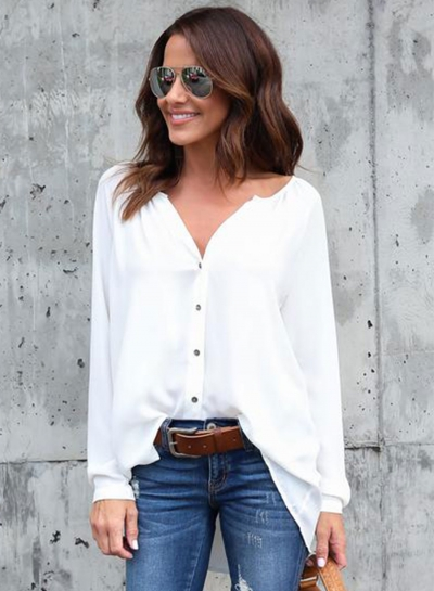 Fashion V Neck Button down Chiffon Shirt