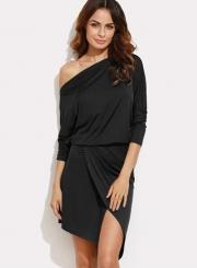 One Shoulder Long Sleeve Solid Irregular Dress