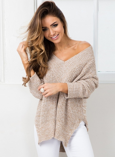 V Neck Long Sleeve Solid Slit Knit Sweater