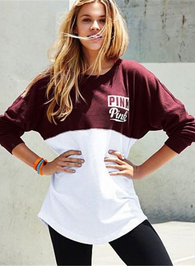 Letter Printed Color Block Loose Sweatshirt STYLESIMO.com