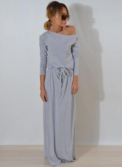 One Shoulder Maxi Dress with Belt STYLESIMO.com