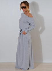 One Shoulder Maxi Dress with Belt