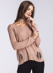 Solid Round Neck Hollow out Long Sleeve Pullover Sweater