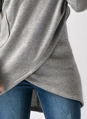 Fashion Long Sleeve Solid Color Asymmetric Design Hoodie