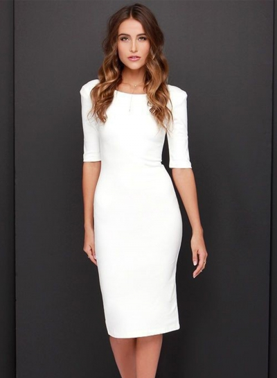 Fashion Half Sleeve Backless Bodycon Party Dress