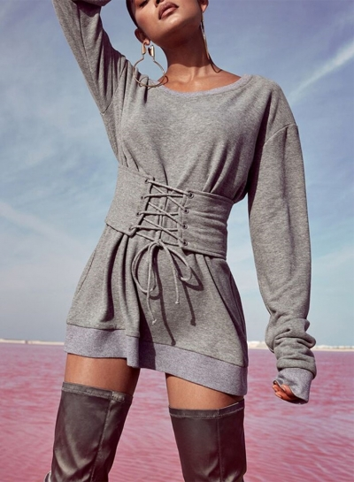 Long Sleeve Lace-up Waist Sweatshirt Tee Shirt dress