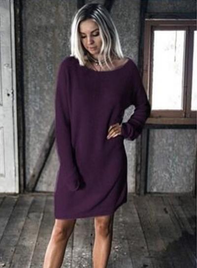 Batwing Sleeve Loose Pullover Mini Dress STYLESIMO.com