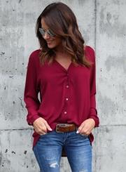 Fashion V Neck Button down Chiffon Shirt