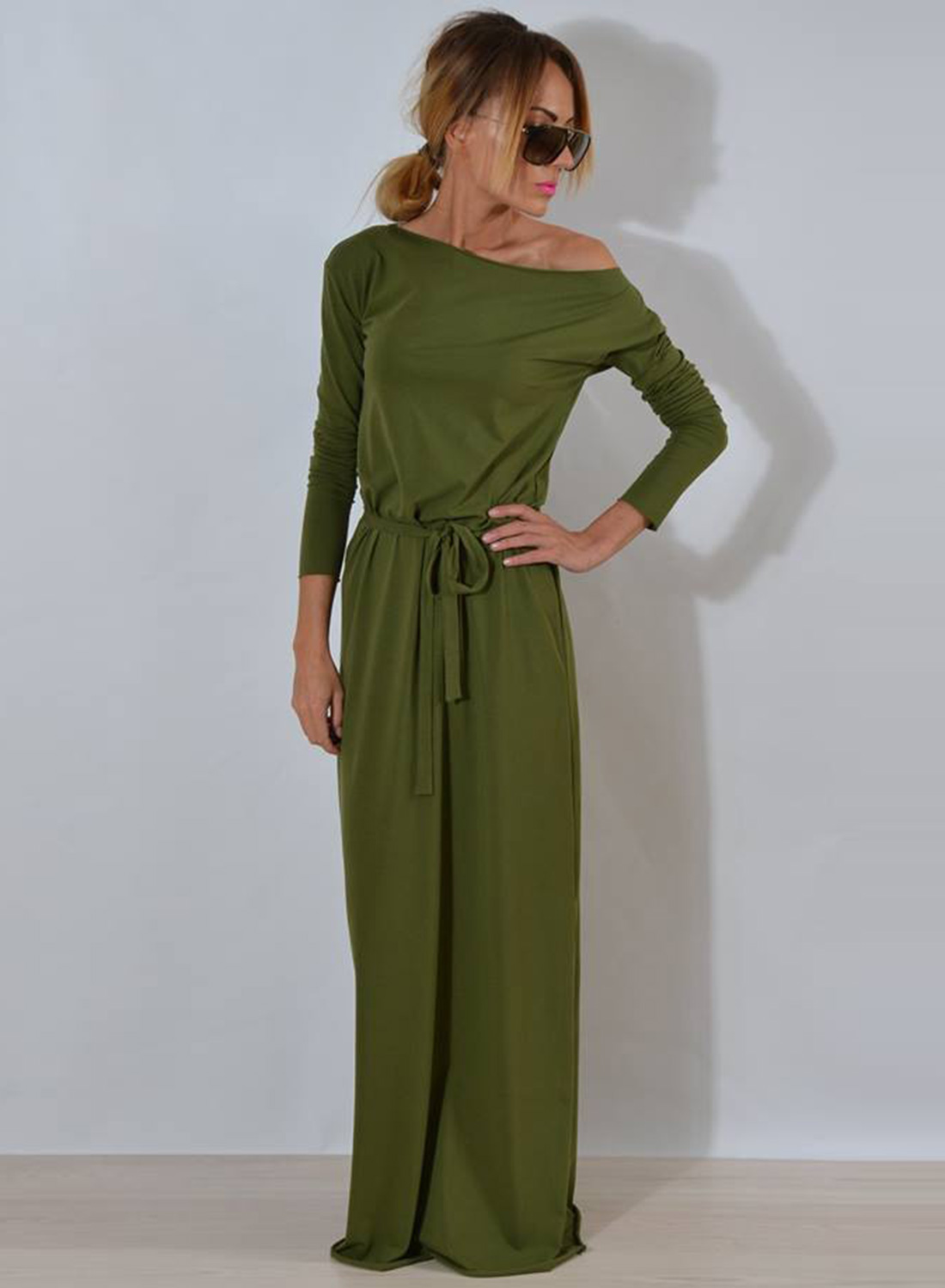 132bf012378 One Shoulder Maxi Dress with Belt STYLESIMO.com. Loading zoom