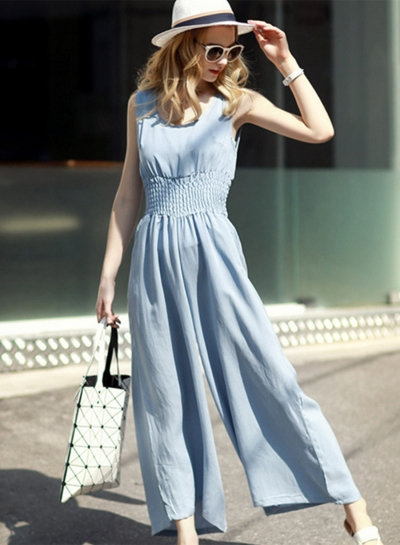 Sleeveless Elastic Waist Wide Leg Jumpsuit