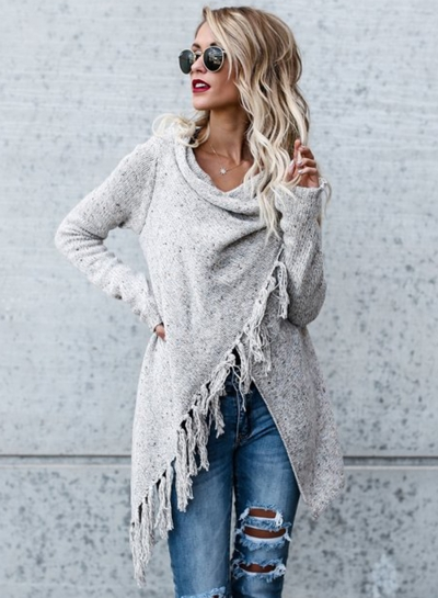 Cowl Neck Long Sleeve Fringe Irregular Sweater