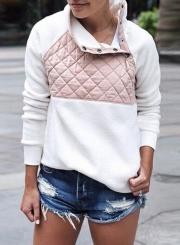 Long Sleeve Color Block Fleece Sweatshirt