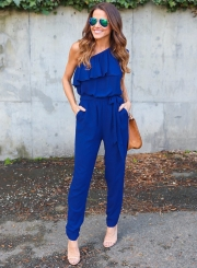 Fashion One Shoulder Ruffle Jumpsuit with Belt