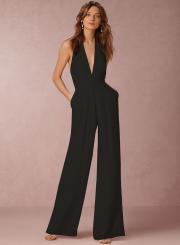 Fashion Halter V Neck Backless Wide-Leg Jumpsuit