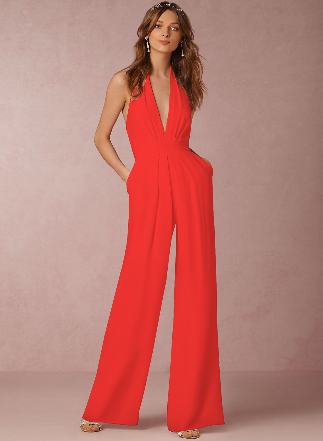 afcfc9cdece Fashion Halter V Neck Backless Wide-Leg Jumpsuit STYLESIMO.com. Loading zoom