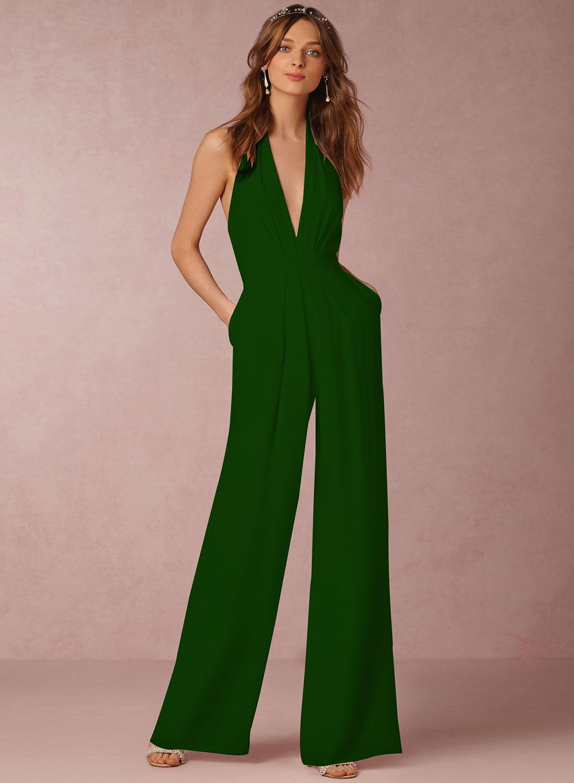 64a09416866e Fashion Halter V Neck Backless Wide-Leg Jumpsuit STYLESIMO.com. Loading zoom