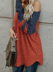 Color Block Loose Fit Knit Sweater