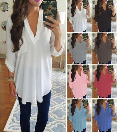 4efd62142614 S~XXXXXL Plus Size Women s Fashion Chiffon Shirt V-neck Long Sleeve Loose  Tops