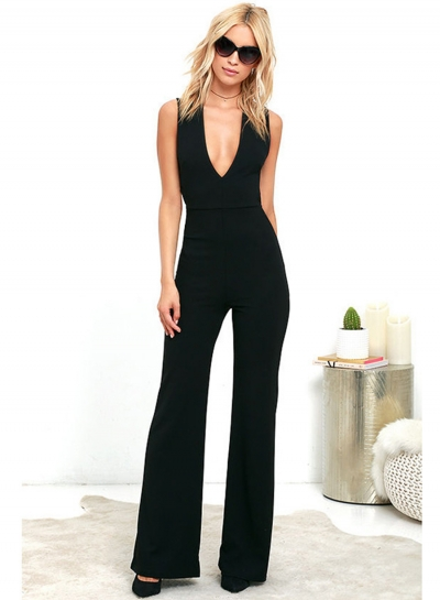 V Neck Backless Sleeveless Wide Leg Jumpsuit