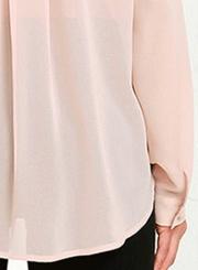 V Neck Long Sleeve Solid Chiffon Blouse