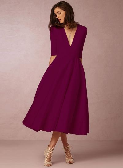 v neck half sleeve a line prom dress stylesimo com