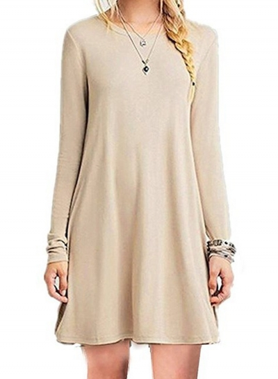 Solid Loose Fit Long Sleeve Round Neck Mini Dress