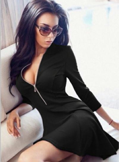 Fashion V Neck Long Sleeve Zip A-line Dress