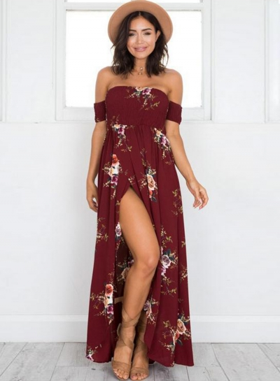 Boho Floral Off Shoulder Split Maxi Dress