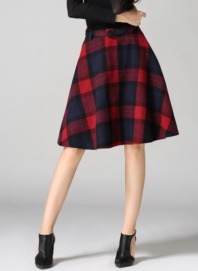 Fashion High Waist Plaid Wool Midi Skirt