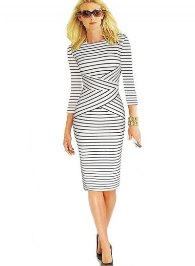 Sleeveless Striped Bodycon Knee Length Dress