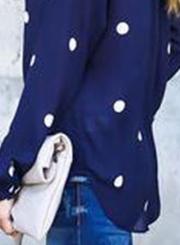 Casual Long Sleeve Polka Dots Loose Fit Blouse