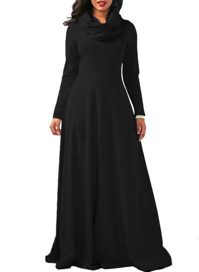 Cowl Neck Long Sleeve Loose Maxi Dress