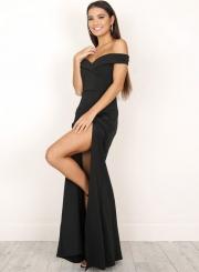 Off Shoulder High Slit Prom Dress