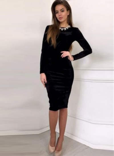 Long Sleeve Bodycon Velvet Party Dress