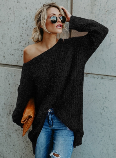 Solid One Shoulder Long Sleeve Irregular Pullover Sweater