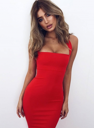 Halter Sleeveless Bodycon Midi Dress
