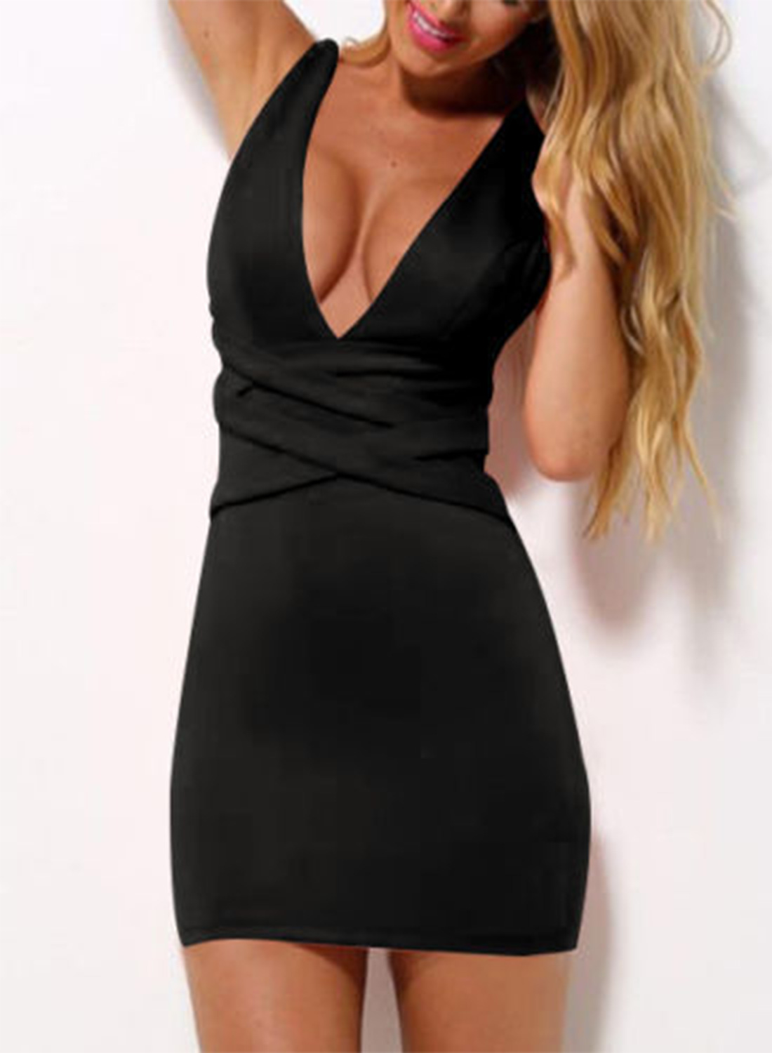 d979cbef5a0f Deep V Neck Sleeveless Bodycon Mini Dress STYLESIMO.com. Loading zoom