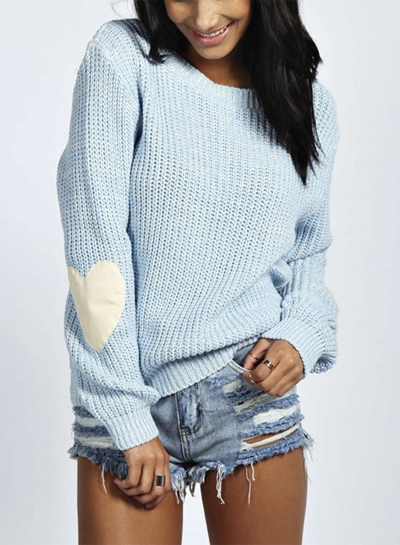 Heart Loose Fit Pullover Knit Sweater
