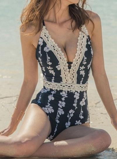 Floral Lace One Piece Swimsuit